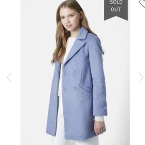 New Topshop Molly wool blend blue furry coat